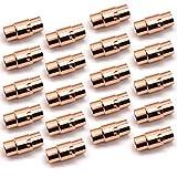 REKYO Rose Gold Leder Schnur Ende Kappe/Magnetverschluss mit Sperren Mechanismus Leder Seil Armband Schnalle (6-20)