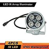 Festnight 4 pz Lampada IR ad alta potenza LED IR illuminatore IR per telecamera di sicurezza CCTV, argento
