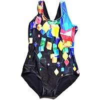 Bwiv Traje de baño niña una Pieza Traje de natación Resistente al Cloro para niñas de 2 a 15 años
