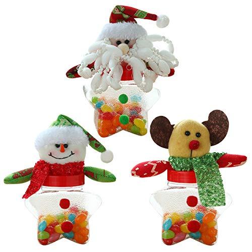 Jolisson Bonbon Verpackung Weihnachten Tischdeko Puppe Süßigkeiten Box 3 St.(Santa Claus,Schneemann,Hirsch)