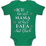 Shirtracer Sprüche Baby - Ich Bin süß Mama ist heiß Papa hat Glück - 1-3 Monate - Grün - BZ10 - Baby Body Kurzarm Jungen Mädchen