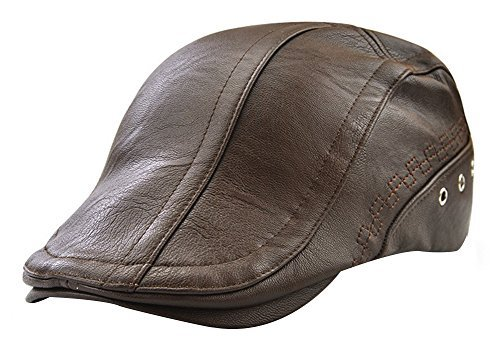 7bfdf5ee391 YOYEAH Men s Leather Newsboy Cap Ivy Gatsby Flat Golf Driving Hunting Hat  Light Coffee