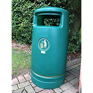 Advancedscape Hefton Large Capacity Plastic Outdoor Litter Bin Complete with a Stainless Steel Ashtray Top - Street Waste Bin - GREEN