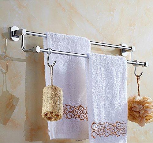 Hlluya Handtuchhalter Das Kupfer Double bar Handtuchhalter Handtuchhalter im Badezimmer Hardware WC Einzel Doppel Pole Nicht - Edelstahl, Messing, doppelt verglast mit Haken, Punch 1 montiert, 50 cm