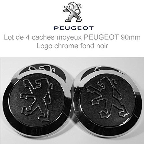 Peugeot Lot de 4 caches moyeux – Centre de Roue 90mm/64mm Logo Chrome Fond Noir.