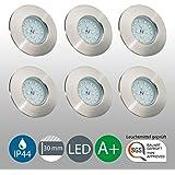 Set de 6 spots LED à encastrer 6x 5W 400 lm Pour la salle de bain IP44 ultra plat 230V