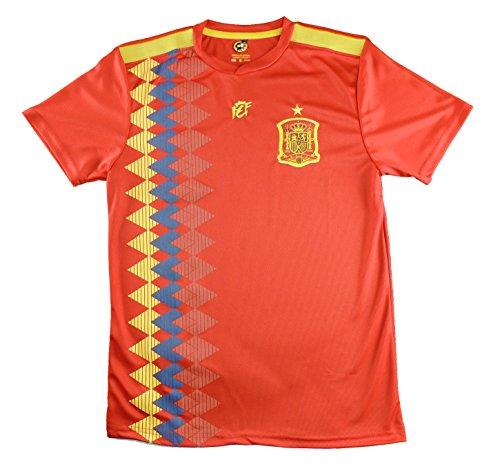 REAL FEDERACION FUTBOL Offizielle REAL USS Fußball Shirt Replik Auswahl von Spanien. Offizielles Lizenzierte globalen Russland 2018. Größe Kinder, rot, Talla 14