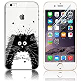 iPhone 6 Case,iPhone 6S Cases, Sunroyal Soft TPU Clear Silicone Gel Shock Proof Soft Durable Scratch Resistant Rubber Transparent Beautiful Colourful Pattern Design Protective Case Cover Skin Shell for iPhone 6 6S 4.7 inch + Free Screen Protector - Black and White Cat