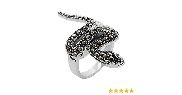 Silverly Femmes Argent 925 simul/é marcassite oxyd/é Enroul/é Serpent Serpent Bague