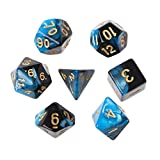 7 teile/satz Spiele Multi Seiten Acryl Würfel Spiel spielen, YooGer Polyhedral Tisch D4-D20, schwarz-blau