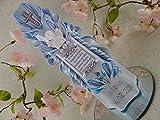 Geschnitzte Taufkerze Kommunionkerze blau für Jungen mit Schutzengel und Taufspruch inkl. Name und Datum