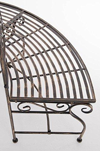 CLP Metall Eckbank / Gartenbank LORENA, Baumbank Design nostalgisch antik, Eisen lackiert, ca. 140 x 60 cm Bronze - 7