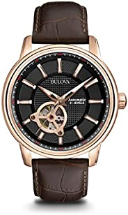 Bulova Men's Designer Automatic Self Winding Watch Leather Strap - Black Rose Gold Dial 97