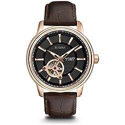 Bulova Automatic 97A109 - Reloj automático de diseño para hombre - Correa de cuero - Color oro rosa y negro