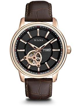 Bulova Automatic 97A109 - Herren Designer-Automatikuhr - Armband aus Leder - Zifferblatt in Schwarz und Roségoldfarben