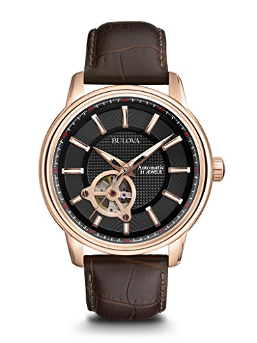 bulova-mens-designer-automatic-self-winding-watch-leather-strap-black-rose-gold-dial-97a109
