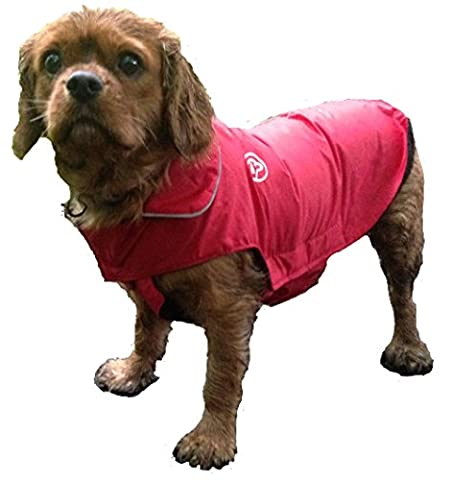 Pink Waterproof Dog Coat, Fleece Lined For Warmth, Chest Protector, Reflective Night Safety Jacket