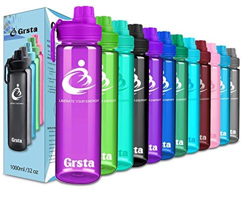 Grsta Sport Trinkflasche Auslaufsicher & Spülmaschinenfest Wasserflasche - 1L/Glossy-Violett & BPA frei Tritan Kunststoff Sporttrinkflaschen für Laufen, Yoga, Fahrrad, Kinder Schule (Spülmaschinenfest Aus Frei)