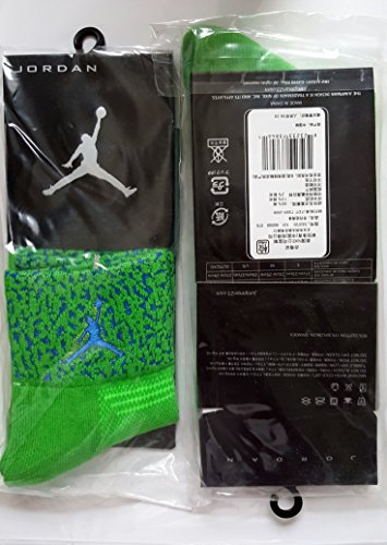 Jordan Damen und Herren Socken Sport und Freizeit perfekt Qualität stoßfest EU 40-44 Green/Blue/Blue Logo 40-44 (Jordan 13 Socken)