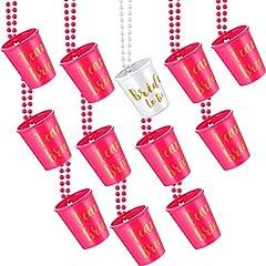 Idea Regalo - 12 Pezzi Squadra Sposa e Bride To Be Plastica Collana in Vetro da Sposa con Perline Rosa e Bianco con Foglia d'Oro per Collane per Feste da Addio al Nubilato