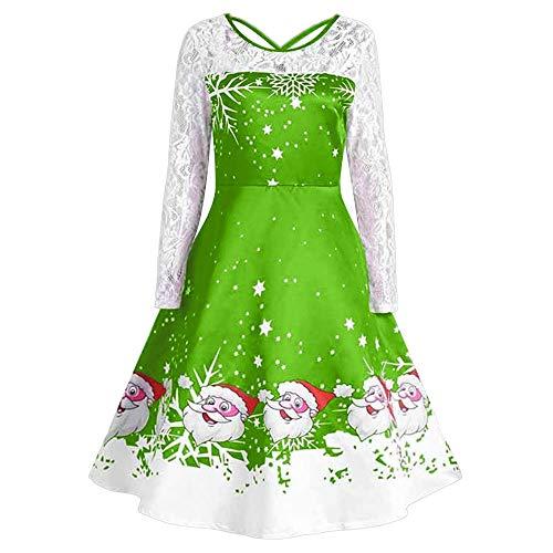 Damen Weihnachten Kleid Geili Elegante Langarm Oversized Spitzenkleid Frauen Vintage Weihnachtsmann...