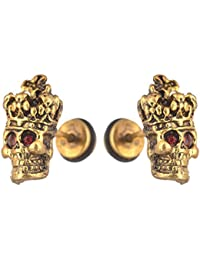 f0198cafe Sullery 1 Pair Punk Red Crystal Skeleton Skull Inspired Biker Jewelry Gold  Stainless Steel Surgical Stud