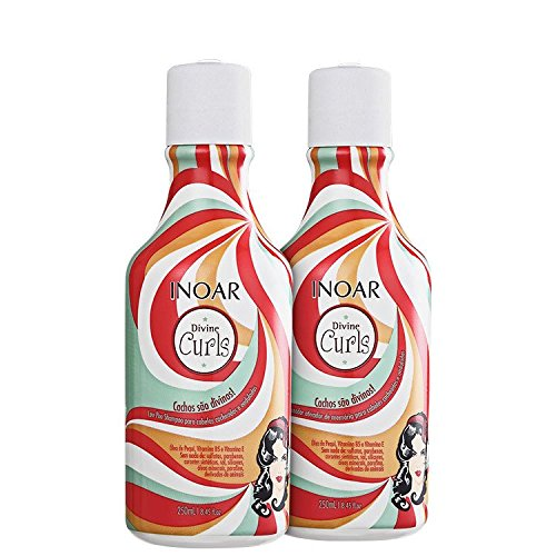 Shampoo and Conditioner 250ml x 2 Inoar Duo Divine Curls Hair Care Set, Curly Hair Products, Hair Conditioning Treatment Hydrates and Defines Curls, Suitable For Curly Hair, Use Once A Week