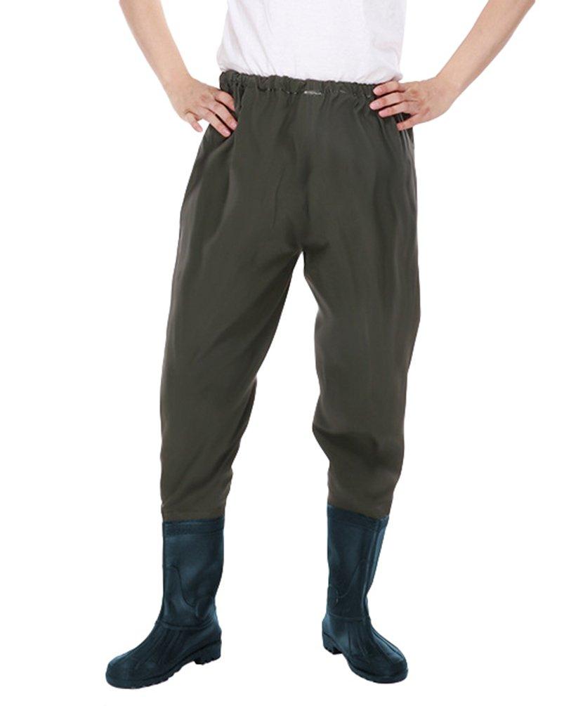 c0b219b52dcc8 Xinwcang Uomo Professionali Stivali Coscia Pesca da Pioggia Impermeabili  PVC Waders Pantaloni Pescatore con Stivali da Laghetto