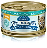 Blue Buffalo Wild Delights Flaked Kitten Chicken & Trout Wet Cat Food, 3 oz Can, Pack of 24