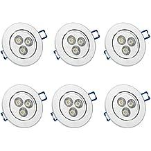 6 x Auralum® Faretti LED Spot da Incasso Orientabili 3W Soffitto LED Lampada Luce Bianca Freddo 5500-6500K con Trasformatore