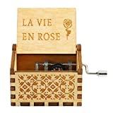 JUNERAIN Boîte à Musique en Bois, boîte à Musique en Bois Antique, Cadeau Musical - La Vie en Rose