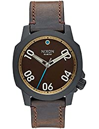 Nixon Ranger 40 Leather, Color: All Black / Brass / Brown, Size: One Size