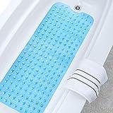 Unuber Badewannenmatten Extralange TPR Rutschfeste Badewanneneinlage Badematte mit Saugnäpfen Badewanne Dusche Kinder 100*40cm (Blue)