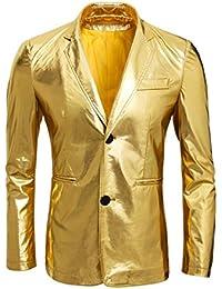 Cusfull Metallisch Gold Anzug Sakko Zwei Knöpfe Herren Anzugjacken Smoking Regular Fit für Party Hochzeit Nachtklub Disko Cosplay