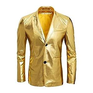 Cusfull Metallisch Gold Anzug Sakko Zwei Knöpfe Herren Anzugjacken Smoking Regular Fit für Party Hochzeit Nachtklub…