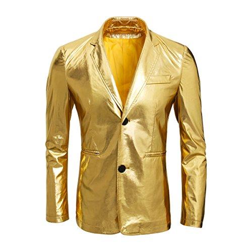 Cusfull Metallisch Gold Anzug Sakko Zwei Knöpfe Herren Anzugjacken Smoking Regular Fit für Party Hochzeit Nachtklub Disko Cosplay (XL)