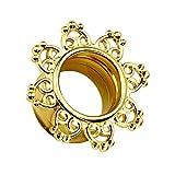 Piercingfaktor Flesh Tunnel Ear Plug Ohr Piercing Herzen Vintage Mandala Sonne Edelstahl Gold IP 8mm