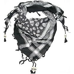 LOVARZI - Cráneo pañuelo negro y blanco - algodón desierto plaza bufandas de moda con cuentas de hueso de cráneo