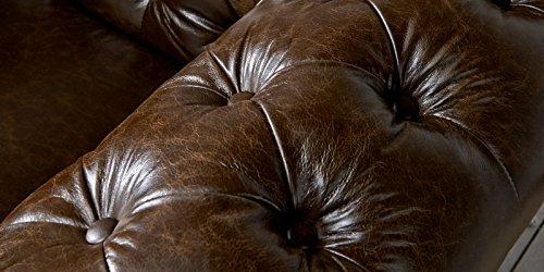 Echt Leder Sofa Chesterfield 3-Sitzer antik braun Couch Exclusive - 4