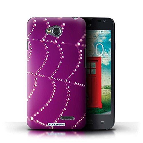 Kobalt® Imprimé Etui / Coque pour LG L65/D280 / Rouge conception / Série Toile d'araignée Perles Rose