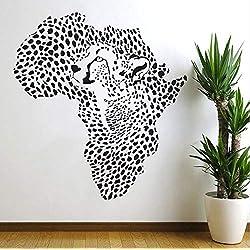 Lovemq Mapa De Leopardo Salvaje Africano Pegatinas De Pared Lion Nursery Decoración De La Pared De Vinilo Pegatinas De Pared Extraíble Calcomanías 63X59 Cm
