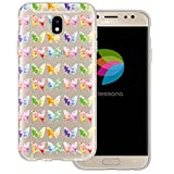 mobilefox dessana Aquarell Tier Pattern Transparente Silikon TPU Schutzhülle 0,7mm Dünne Handy Tasche Soft Case für Samsung Galaxy J5 (2017) Schmetterling