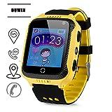 DUWIN Enfants Smartwatch, Smart Montres GPS Tracker pour garçons Filles Enfants avec SOS Alarme Anti-Perte podomètre pour appareils électroniques Jouets d'apprentissage Cadeaux d'anniversaire,Yellow
