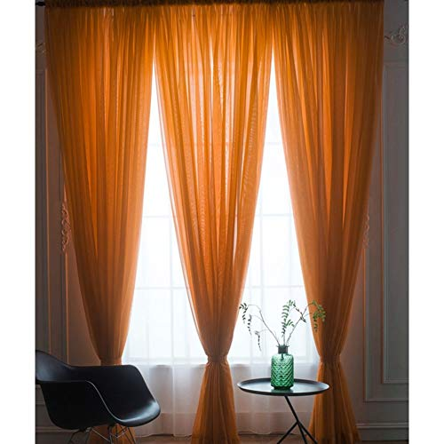 Be&xn traslucido oscuranti le tende con gancio in chiffon finestra home decor progettare la luce penetrante & privacy morbido per camera da letto 1 pannello-arancione 270x300cm(106x118inch)