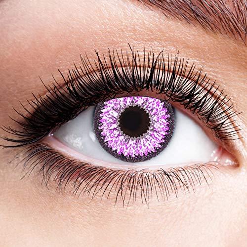 Farbige Kontaktlinsen Lila Motivlinsen Ohne Stärke mit Motiv Linsen Halloween Karneval Fasching Cosplay Kostüm Violet