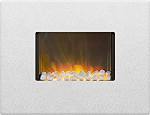 Adam Nexus Wall Mounted Electric Fire in Sparkly White Marble, 30 Inch, Pebble Bed