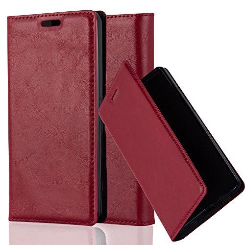 Cadorabo Hülle für Sony Xperia Z1 COMPACT - Hülle in Apfel ROT – Handyhülle mit Magnetverschluss, Standfunktion und Kartenfach - Case Cover Schutzhülle Etui Tasche Book Klapp Style