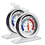 Fridge Thermometer Refrigerator Thermometer,INRIGOROUS Pack of 2 Stainless Steel Dial Fridge/Freezer Thermometer