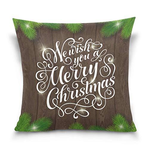 Kissenbezug Square Pillowcase Merry Christmas Card Velvet Throw Pillow Cushion Case Cover Invisible Zipper Home Decor for Couch Sofa Car No Pillow Insert