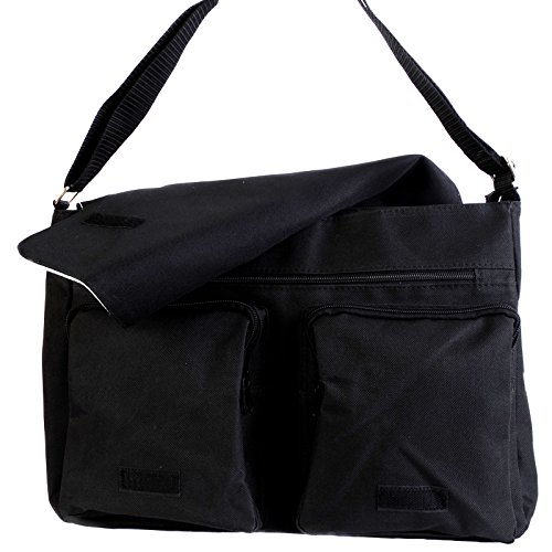 Fancy A Bag Borsa Messenger nero Luscious Green Leaves Shadow of Bicycle on Grass in Park